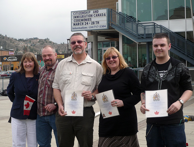 """Five Revelstokians became Canadian citizens yesterday in Kelowna. Julie and Gary Lowes (left), and Colin, Kathy and Jason Horkley are all originally from England. """"We'll be taking over yet!"""" laughed friend Jackie Pendergast, who became a new Canadian herself — along with husband Garry — back in 2010 ,  Congratulations to you all from The Revelstoke Current! Photo courtesy of Jackie Pendergast"""