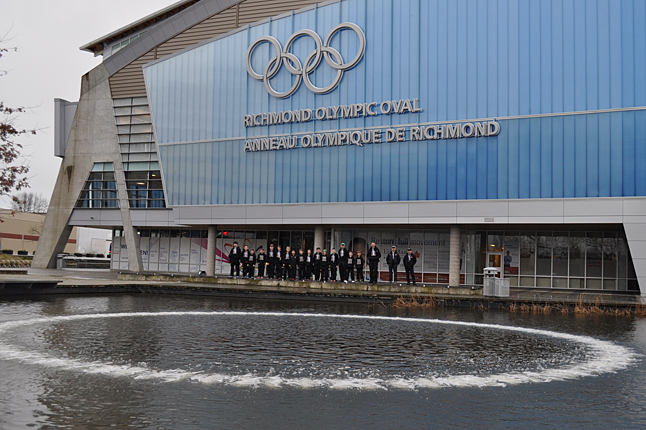 RICHMOND — Here's a grand shot of the team in front of the venue for the Provincial Championships — the Richmond Olympic Oval. Photo courtesy of Kelli Jamieson