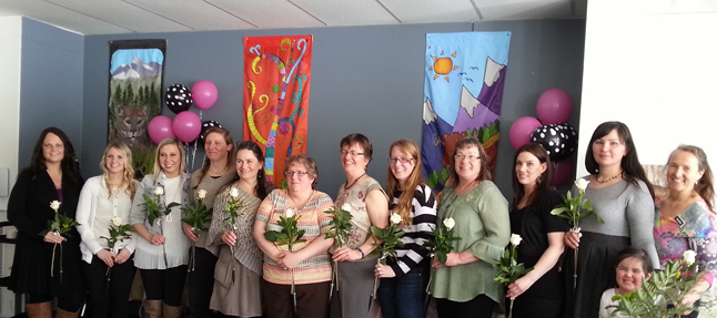 After months of study at Queen Victoria Hospital, these smiling ladies graduated last Monday, March 17, from the province's  Health Care Aide program. Congratulations to Jennifer Crockford, Chantelle Cumskey, Mallory Dale-Anderson, Donna Peterson, Jackie James, Jennifer Lenzi, Kayla Bodman, Natalia Kiyan, Connie Marsden, Maralee Faurot and Kara Farrell. They posed with instructor Audrey Austin (fifth from the left) during a celebratory luncheon at Okanagan College. Photo courtesy of Julie Lowes/Interior Health