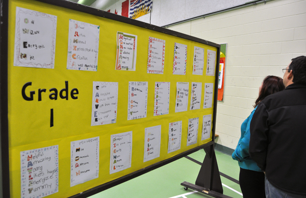Grade One pupils used their artistic inclinations to use other words to spell out their names. David F. Rooney photo