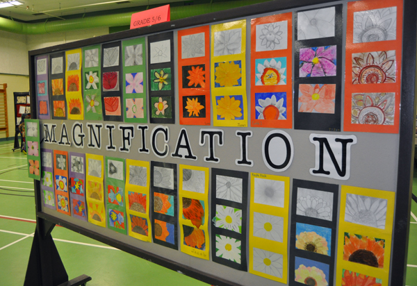 Grade Five/Six kids created art works based on magnified flowers. David F. Rooney photo