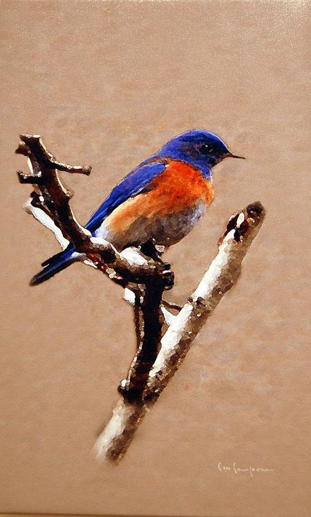 We3stern Bluebird By Jim Lawrence Pixel scrambled photograph phWestern Bluebird