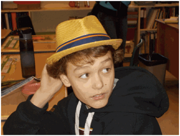 Rory wearing his fashionable fedora. Photo by Frankie, Student Reporter-Photographer