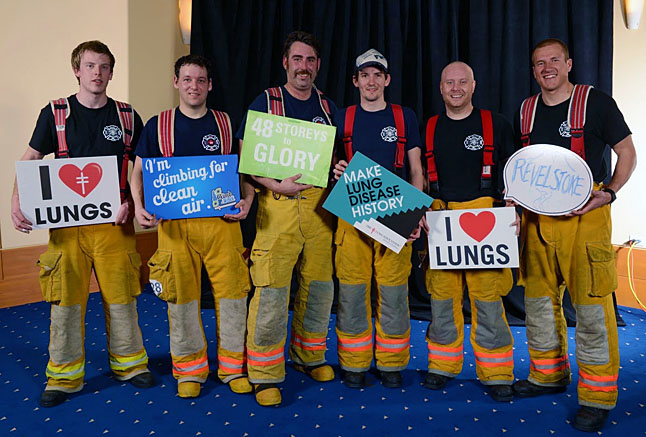Local guys Mike Sihvo, Ty Gregg, Jeff Acton, James MacDonald, James Bacon and Glen Cherlet acquitted themselves well during the event. Photo courtesy of the Revelstoke Fire Rescue Service