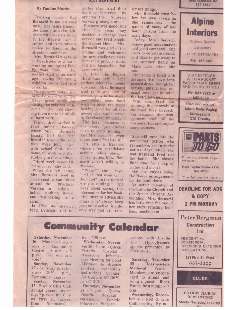 This is a story about Kay published many years ago in the old Revelstoke Review. Image courtesy of the Beruschi family