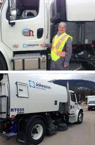 City Councillor Linda Nixon poses with the new street sweeper that has arrived in town in the nick of time for spring cleanup. Photos courtesy of the City of Revelstoke