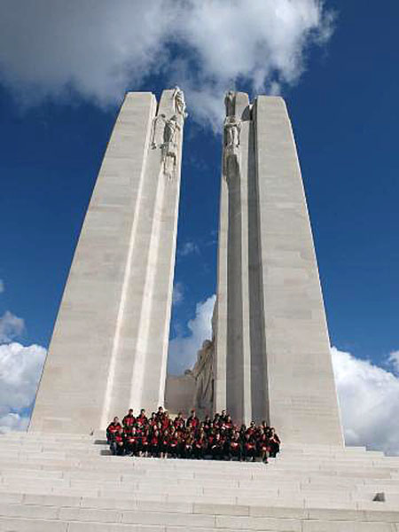 RSS students pose at the majestic and iconic Vimy Ridge War Memorial. Lisa Cancilla photo