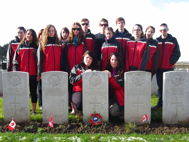 This past month 16 very fortunate RSS students witnessed the significance of contributions made by fellow Canadians on the battlefields of Europe during the twentieth century. Lisa Cancilla photo