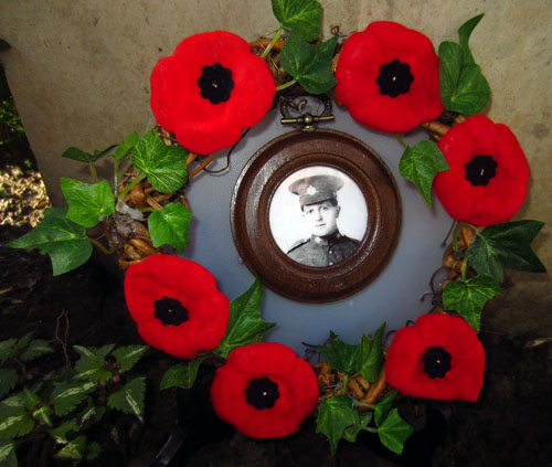 A wreath marks the final resting place of Revelstoke soldier John Collia who fell in battle almost 100 years ago.  Lisa Cancilla photo