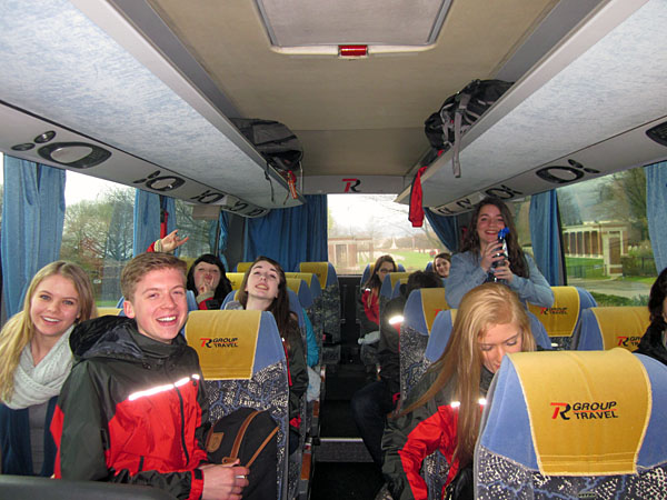However, the students' trip to Europe wasn't entirely about visiting with the dead. The kids had fun on their bus, too.  Lisa Cancilla photo