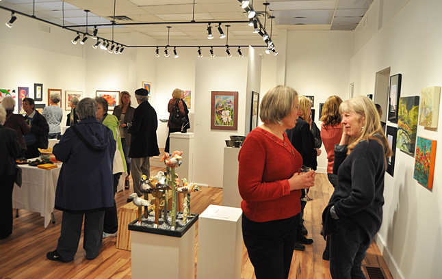 The In My Garden Members' Show that opened the 2014 exhibition season on Friday evening at the Revelstoke Art Gallery was thronged with art lovers who deeply appreciated its colourful celebration of spring. David F. Rooney photo
