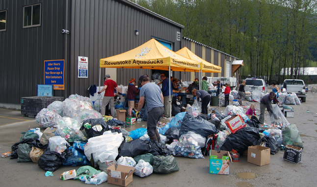 Meanwhile, across town, the Aquaducks were busy counting all the bottles and cans they had gathered during their fund-raising bottle drive. David F. Rooney photo