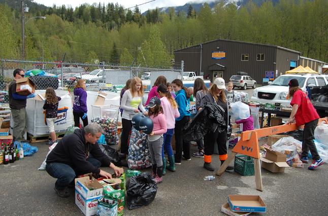 Just across the way, the Grade 7 students from Columbia Park Elementary School were counting their own bottles and cans as they strive to earn the last $1,600 they needed for a class graduation trip at the end of May. David F. Rooney photo