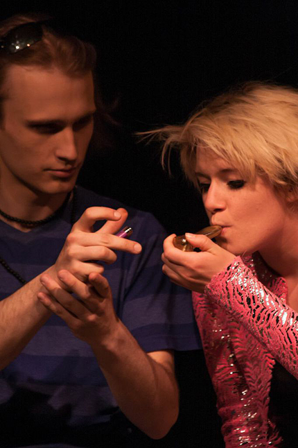 Sex and drugs are two of the intertwined themes in this play. Here, Linus Van Pelt (Justin Smith) shares some dope with Sally a few minutes before seducing her. Jason Portras photography