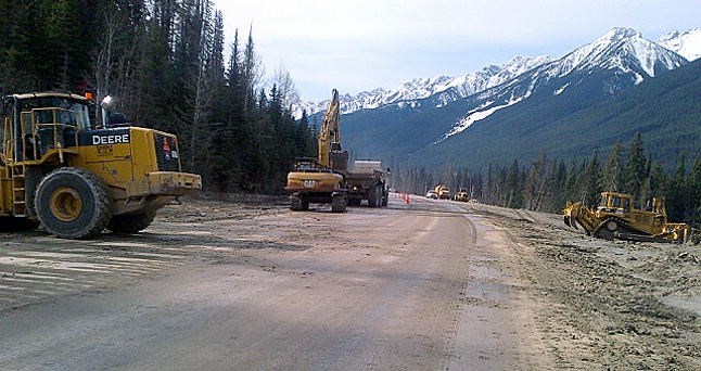 The Trans-Canada Highway was reduced to single-lane alternating traffic for part of Friday, May 16, between Revelstoke and Golden due to a landslide near the east boundary of Glacier National Park. And while full two-way traffic was restored by 2 pm that afternoon the flow of cars and trucks along the national highway could be cut at any time this weekend. Photo courtesy of Parks Canada