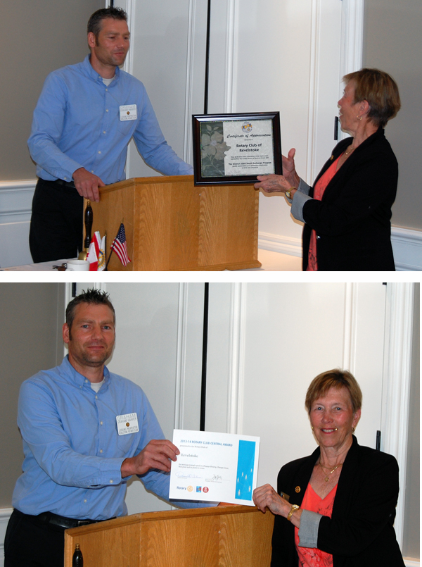 The Revelstoke Rotary Club received a couple of awards last week from Isabel Reinertson, Assistant Governor of District 5060. President Graham Harper (left) received, on behalf of the club, a Certificate of Appreciation award for its Youth Exchange Program with a Rotary Club in Brazil (top) and a an award for setting and fulfilling strategic goals. David F. Rooney photo