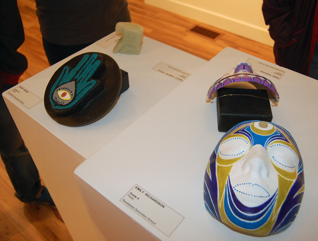 The Grade 9 - 12 students in Theresa Browning's art classes offered 170 paintings, drawings and 3-dimensional objects such as masks and other objects for the delight of exhibition goers. Many of the works were for sale and more than a few were swiftly snapped up. David F. Rooney photo