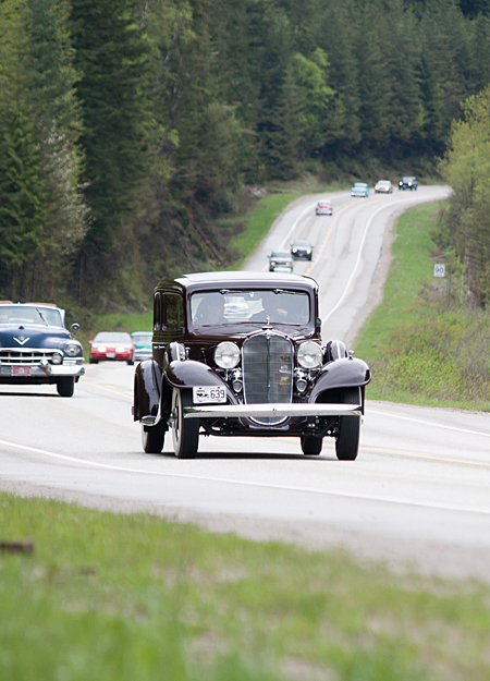 Peter Trant leads a group of vintage cars down Hwy 1 with his 1933 McLaughlin Buick Victoria. Jason Portras photo