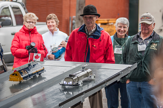 The Valve Cover Races took place in the Credit Union parking lot, put on by former local resident Rudy Funfer, now a member of the Salmon Arm Chapter of the Vintage Car Club. The ingenuity that went into creating these racing Valve Covers was a thing to see. Jason Portras photo