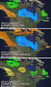 Revelstokians and other Western Canadians can expect a warmer-and-drier-than-normal summer, says the senior meteorologist for AccuWeather.com. Brett Anderson said in a statement that above-normal temperatures and less rainfall are predicted for much of British Columbia into areas in extreme western Alberta this summer. Maps for this Revelstoke Current Photoshop illustration are provided courtesy of AccuWeather.com