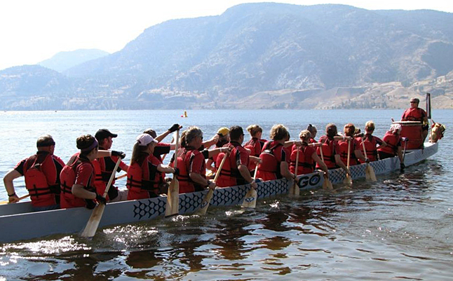 The Dam Survivors paddle their way across a lake. Photo courtesy of the Dam Survivors