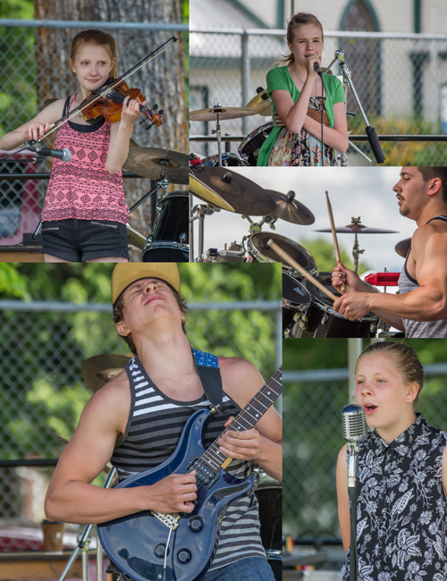 Revelstoke's talent was amazing! From top-bottom, left-right: Jade-Lyn Harder making her violin sing, Sara Carey crooning, Garett Cooper slamming skins, Kade Hansen shredding his axe, and Heather Harder singing her heart out. Jason Portras photo
