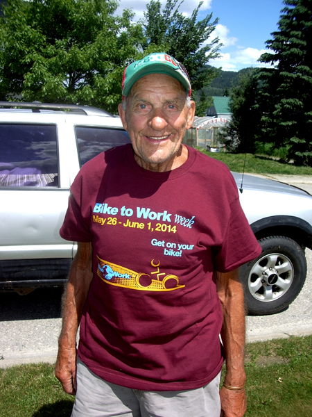 This is 92-year-old Lionel Wheeler, oldest member of the Revelstoke Oldtimers Bike To Work Week team. He cycled a total of 152 kilometres during last week. Wow! All told, the 18-member team biked a total of almost 2,436 km last week.  The team members are: Vivian Mitchell; Josie Woodman; Tom Madlung; Pat Anderson;  Gwynne and Geoff Battersby; Sherrin and Lawrence Davis; Lionel Wheeler; Elena and Doug Bishop; Andrea and Kurt Pont; David Morrison; Ellen Tremblay; Elaine and Martin Greenwood; and Edie Schleiss. Photo courtesy of Geoff Battersby