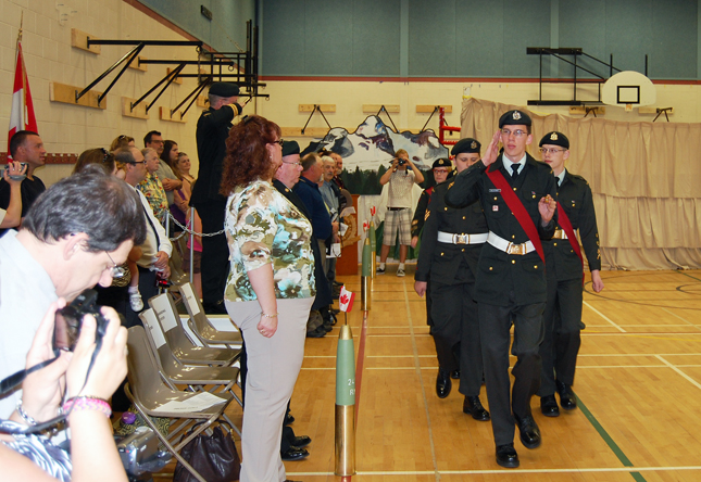 Cadets march past the reviewing officer and audience. David F. Rooney photo