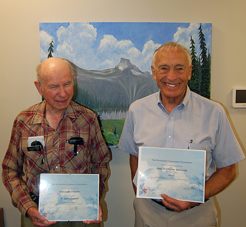 Earl Campbell (left) and Geoff Battersby were honoured with a couple of awards from the Revelstoke Community Foundation during its Annual General Meeting at the Business and Visitor Information Centre at noon on Tuesday, June 10. Earl, who is a well-known long-time supporter of the Foundation, became an honourary director while Geoff an d his wife Gwynne received an award for becoming top donors to the Foundation they helped create. David F. Rooney photo