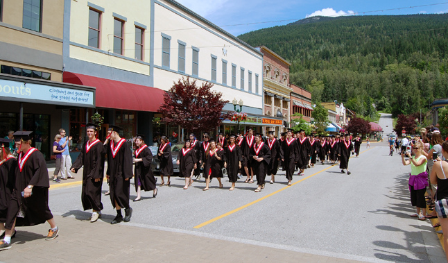 Their teachers may have been on strike but this year's crop of RSS grads didn;t let that stop them them. They gathered at Grizzly Plaza for their traditional class photo then paraded on foot along Mackenzie Avenue. Congratulations to all the 2014 graduates. David F. Rooney photo