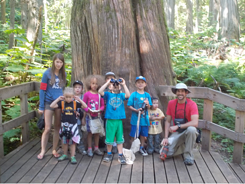 The Junior Naturalist crew at the Giant Cedars Boardwalk, July 2013. Photo courtesy of the North Columbia Environmental Society
