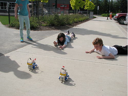 """Teams raced solar powered trains they built during the """"extreme energy"""" Junior Naturalist after-school program this past spring at BVE.  Photo courtesy of the North Columbia Environmental Society"""