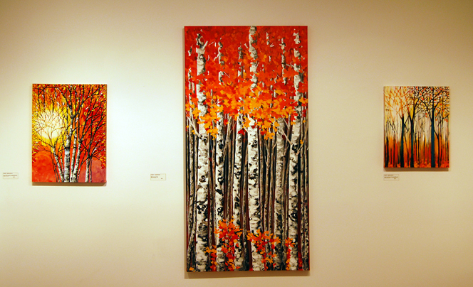 Kristi Marcoffio treats art patrons to her colourful and almost idyllic riff on trees. David F. Rooney photo