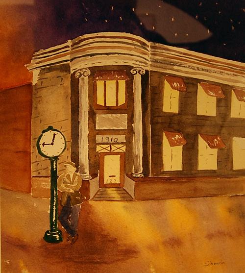 Meet You At Eight By Sherrin Davis Watercolour