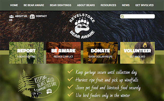"""Just in time for the new bear season, Revelstoke Bear Aware has a whole new look to its website (www.revelstokebearaware.org). """"The new site will be easier to navigate, have lots of fun new resources, and still be the same fantastic source of good, local information about how to reduce conflict with bears Bear Aware Coordinator Sue Davies said in a statement released on Friday, June 6. Screenshot courtesy of Sue Davies/Revelstoke Bear Aware Society"""