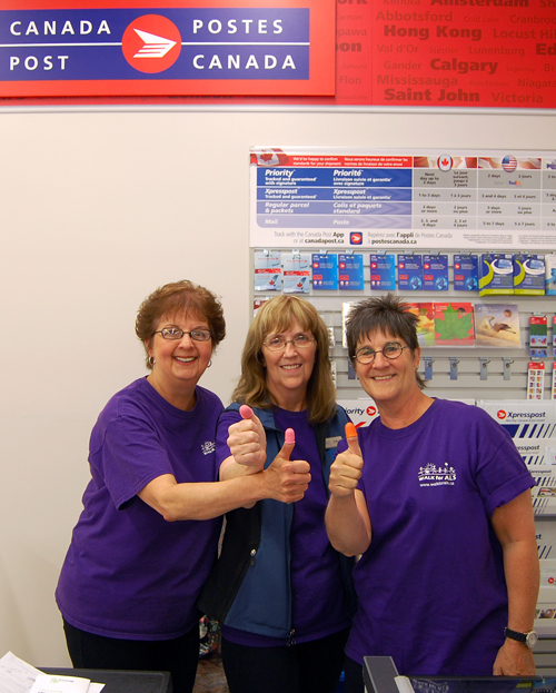 Canada Post is opening a new postal outlet in town inside the newly renovated Peoples Drug Mart store at Alpine Plaza. Carol Vigue, Patti Swenson and Lori Andersen give a big thumbs up for the new outlet. David F. Rooney photo