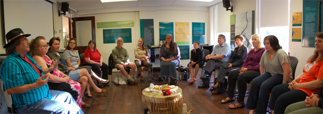 First Nations storytellers and interested Revelstoke residents met with Jackie Cole, MC for the first National Aboriginal Day Storytelling Festival at the Museum on Friday where Cole discussed the nature of First Nations storytelling. The four Rs of storytelling are, she said: Responsibility; respect; reciprocity; and reverence. Photoshop panorama by David F. Rooney