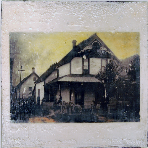 Gwen's House  (based on a historical photo from the Museum & Archives) by Peter Blackmore encaustic and mixed media