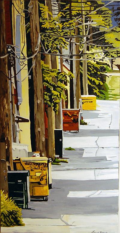 Bin in the Alley by Julie Kozek acrylic on canvas