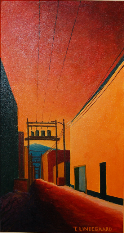 In My Alley by Tina Lindegaard acrylic on canvas