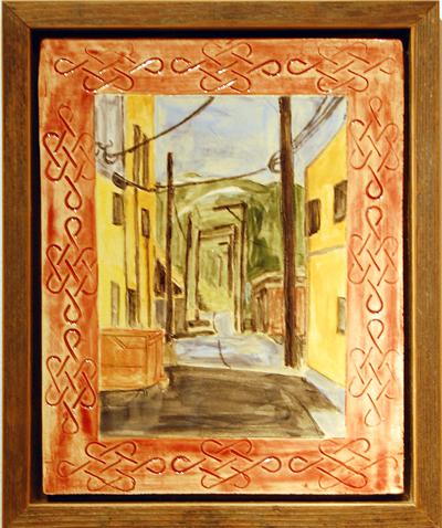 Downtown back Alley by Eve Fisher & Ken Talbot Ceramic and wood