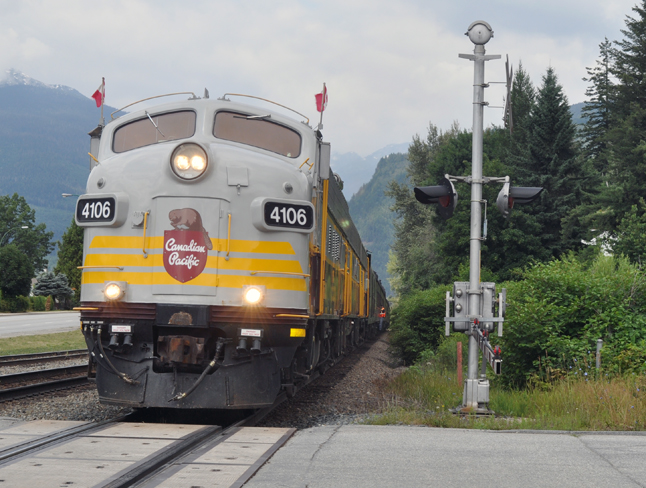 The classic Royal Canadian Pacific pulls to a stop at the Revelstoke Railway Museum on Friday, July 25, to allow a very special passenger to disembark. David F. Rooney photo