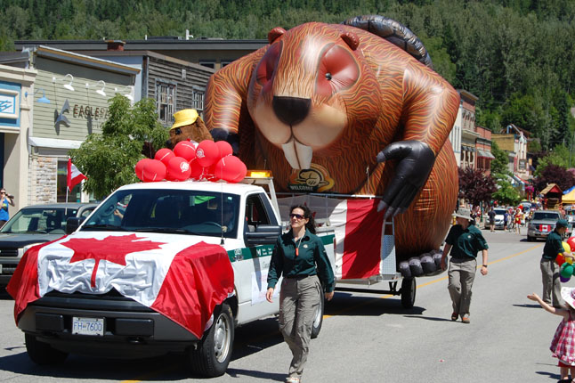 Parks Canada's giant beaver was a hit with the crowd. This year marks the 100th anniversary of the founding of Mount Revelstoke National park. David F. Rooney photo
