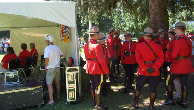 Revelstoke's Mounties enjoyed the cool shade in the park. David F. Rooney photo