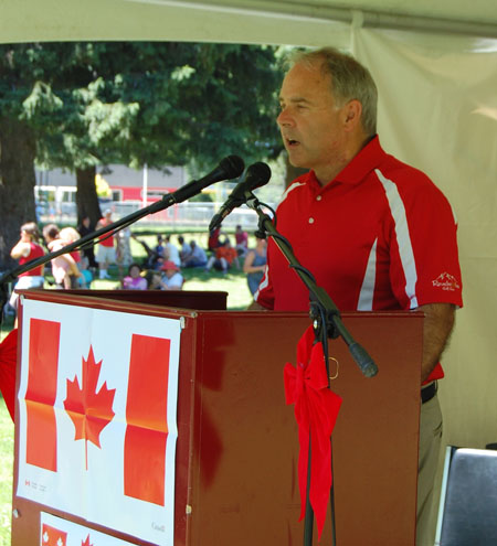 Mayor David Raven addresses the crowd, reminding them that Canada is successful because of all the ordinary, hard-working people whose community-mindedness makes this a great place to live. David F. Rooney photo