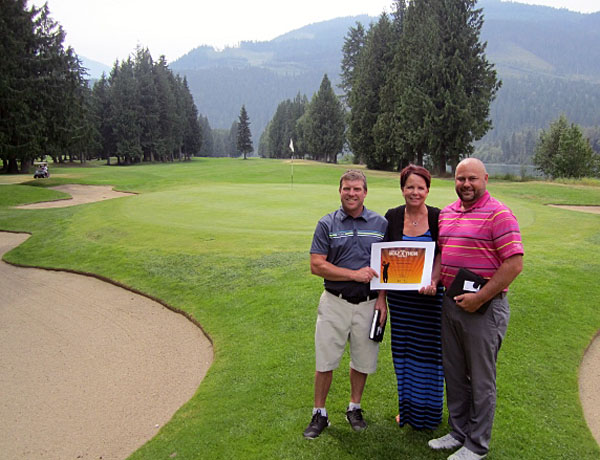 Wendy Toyer Executive Director of the ALS Society of BC dropped by the Revelstoke Golf Club to thank Taylor Pearcey (left) and Greg Austin (right) for their efforts in the PGA of BC Golfathon for ALS. The pair golfed from 4:15 am – 10:15 pm on June 30 completing 200 holes each!  When asked what was the highlight from the day, Taylor said having people come by during the day to thank them and to make a donation.  As well, pro shop staffer Daniel Herrick joined the pair for 72 holes. At the end of the day, over $1,515 was raised in support of patient services provided by the ALS Society of BC www.alsbc.ca. Amyotrophic Lateral Sclerosis (ALS ), also referred to as Lou Gehrig's Disease, is a fatal neurodegenerative disorder that affects the person's motor neurons that carry messages to the muscles resulting in weakness and wasting in arms, legs, mouth, throat and elsewhere; typically the person is immobilized within two to five years of the initial diagnosis. There is no known cause or cure yet, but there is hope through the ALS Society of BC. Proceeds from the PGA of BC Golfathon for ALS provide important support services to ALS patients and research to find a cure. Melissa Nelson photo courtesy of the ALS Society of BC