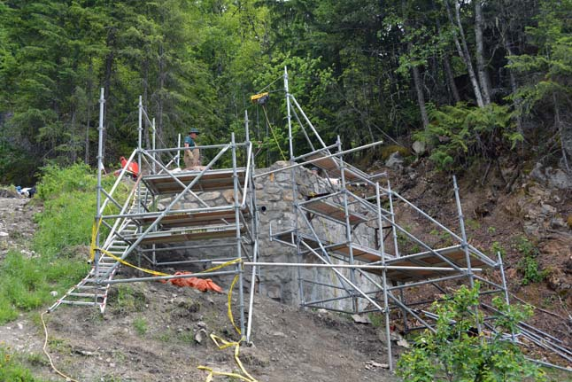 Scaffolding was difficult to erect in this steep terrain. Jeff Bolingbroke/Parks Canada photo