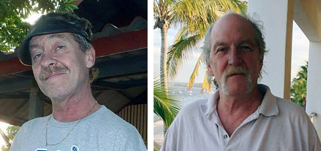 Photos of the missing boaters, Michael Murphy (left) and Al Healy (right) have begun popping up on social media sites such as Facebook and the Stoke List.