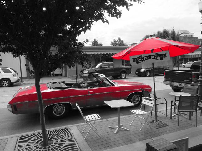 Then, as she strolled past City Hall, he saw his next crimson vision — this Chevrolet Impala convertible. Bob Gardali photo