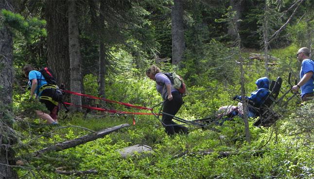 Members of the Shuswap TrailRider Adaptive Adventure Society tackled the trail to Eva Lake in Mount Revelstoke National Park on Saturday, July 26. Photo courtesy of Debra McDonald